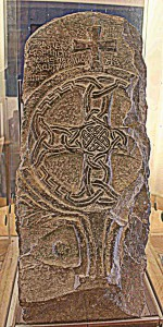 Early Medieval stone sculpture, on display in the gatehouse at St Davids Cathedral