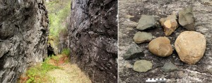 Figure 2: Left: A massively exploited diabase dike at Stakalleneset, Flora, Sogn og Fjordane County. Right: Blanks, used knapping stones and waste of diabase found at the foot of the quarry. (Photo: Astrid J. Nyland)